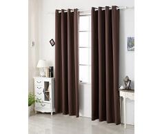 Woltu # 329 - Cortina Cortina opaca, dkl cortina térmica con ojales, pesado cortina DKL cortina, marrón oscuro, 135x175 cm
