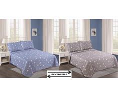 ForenTex- Colcha Boutí reversible, (SE-2674), cama 90 y 105 cm, 190 x 260 cm, Estampada cosida, colcha barata, set de cama, ropa de cama. Por cada 2 colchas o mantas paga solo un envío (o colcha y manta), descuento equivalente