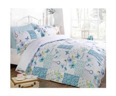 Just Contempo - Juego de funda nórdica y funda de almohada (reversible, poliéster y algodón), diseño patchwork, mezcla de algodón, azul/blanco, funda de edredón doble (dormitorio femenino)