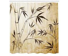 ABAKUHAUS Bambú Cortina de Baño, Degradé Hojas de Bambú Flexibilidad Estructura Compleja de Raíces Viajeros Imagen, Material Resistente al Agua Durable Estampa Digital, 175 x 220 cm, Marrón