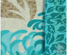 Juego de funda nórdica y funda de almohada reversible, de algodón, diseño floral, mezcla de algodón, beige y azul, funda nórdica para cama doble (acolchada)