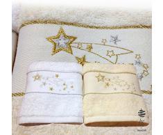 Pack de 2 Navidad Terry paños de cocina toallas de té de plato Ref. Star Con Cesto para la ropa sucia