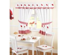 Just Contempo - Juego de cortinas para cocina (117 x 107 cm), diseño de amapolas y cuadros, color blanco y rojo, poliéster, rojo, 2 cortinas 168 x 122 cm