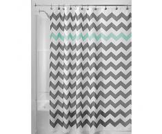 InterDesign Chevron Cortina de ducha de tela, Cortina de baño lavable a máquina y con 12 ojales reforzados, Cortina decorativa con dibujo de zigzag, Poliéster gris/turquesa