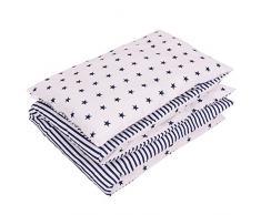 Sevira Kids - Juego de cama infantil reversible de 2 piezas (100% algodón ecológico), diseño de estrellas blanco azul marino Talla:90 x 120