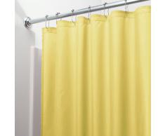 InterDesign Poly SC/Liner Cortina de baño de tela, Cortina impermeable con dobladillo reforzado, Cortina de ducha lavable a máquina, 183,0 cm x 183,0 cm, Poliéster amarillo