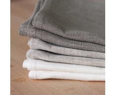 6 toallas de cocina 50x70 cm 100% lino natural blanco gris