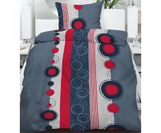 2 - 4 piezas Verano Juego de ropa de cama (2 piezas, 135 x 200/80 x 80 cm puntos steifen gris rojo, microfibra, Dessin 1, 1x (135x200cm + 80x80cm)