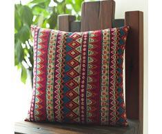 """MeMoreCool estilo étnico bohemio algodón manta funda de almohada, diseño de rayas de moda sofá cojín, Boho Decor almohada 18 """"x18 – Utiliza para sofá/silla/cama, algodón, Rojo, 17 Inch by 17 Inch"""