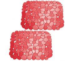 mDesign Juego de 2 alfombrillas antideslizantes y recortables – Práctico tapete de PVC para la cocina – Base para fregadero con diseño de guijarros para proteger la vajilla y el fregadero – rojo