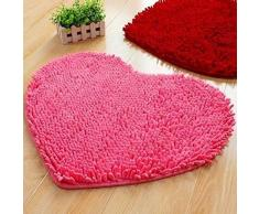 GerTong Alfombra absorbente en forma de corazón para baño, baño, ducha, cojín antideslizante, decoración del hogar, rosa, 40*50cm
