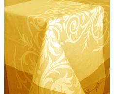 Mantel antimanchas Louvre Redondo 100%algodón con protección de resina y Teflón de Dupont(R) - D150 - Amarillo