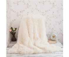 Kaihong - Manta acogedora de microfibra para sofá o cama, pelo sintético (130 x 160 cm, color blanco), poliéster, Blanco, 130 x 160