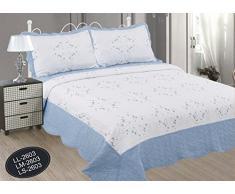 ForenTex - Colcha, Bouti, (LL-2603), cama 150 cm, 240 x 260 cm, Celeste, bordada, + 2 cojines, colcha verano, colcha barata, set de cama, ropa de cama. Por cada 2 colchas o mantas paga solo un envío (o colcha y manta), descuento