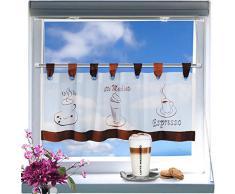 Kamaca - Café moderno - cortina con lazos , puertas cortas, voile blanco con tres motivos de café con bordados típicos - ( aprox h / b 45 x 120 ) - nueva - también una buena idea de regalo - cortina bistro