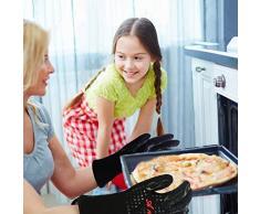 Guantes de horno resistentes al calor guantes de cocina (juego de 2) y cepillos de barbacoa de silicona, guantes de horno Fabricado con guantes de tela de Kevlar-Nomex, guantes de cocina para cocinar, guantes de chimenea extremadamente