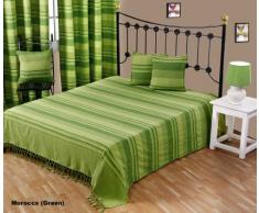 """Homescapes Funda Sofa de 260 x 360 cm color Verde en algodón de la coleccion """"Rayas"""""""
