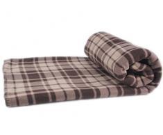 Manta de lana lujosa KARO color marrón , Tamaño Maxi: 150 x 200 cm, calidad 220 g / m²