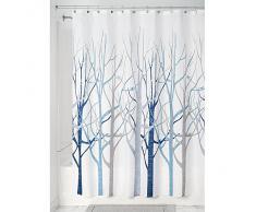 InterDesign Forest Cortina de baño de diseño   Preciosa cortina de ducha de 183 x 183 cm   Cortinas modernas para bañera o ducha con dibujo de árboles   Poliéster azul/gris