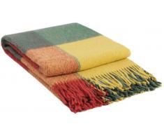 Manta de lana con franja, 65% Lana, 140 X 200cm, modelo London 8, color rojo-vinoso-amarillo-verde
