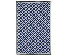 Fab Hab - Marina - Alfombra para Exterior e Interior - Indigo y Blanco Brillante - (90 cm x 150 cm)