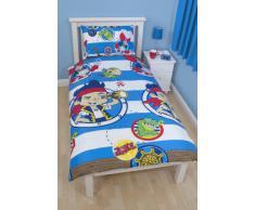 Character World - Juego de funda de edredón y funda de almohada para cama infantil, diseño de Jake y los Piratas de Nunca Jamás