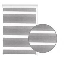 Gardinia 33341 Silvalin - Estor (doble, enrollable, 100 x 220 cm, con caja de aluminio), color plateado y blanco