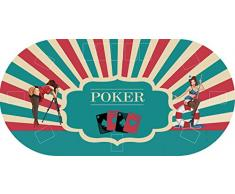 "Tapete Poker Antideslizante Oval ""Chicas"" PVC 120 cm x 60 cm | Tapete poker mesa PVC | Tapete vinilico para mesas | Poker ""Chicas"""