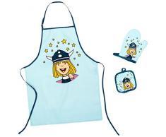 p:os 20393 Wickie - Juego de delantal y manoplas de cocina para niños, diseño de Vickie el Vikingo
