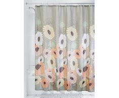 InterDesign Wild Flowers SC Cortina para ducha | Cortinas para baños de secado rápido | Cortinas para ducha de 183,0 cm x 183,0 cm con estampado de flores | Poliéster tonos pastel