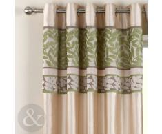 Just Contempo - Cortinas con forro y ojales (seda sintética y chenilla), diseño de rayas, par de cortinas 2,29 x 1,37 m ( extra ancho bay window, verde, crema y beige