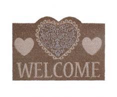 """Felpudo diseño romantico """"hearts welcome"""" fibra de coco 60 x 40 cm"""