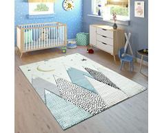 Paco Home Alfombra Infantil Habitación Motivo Montañas Luna Estrellas Pastel Azul Gris, tamaño:140x200 cm