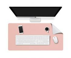 MoKo Alfombrilla de Escritorio para Ordenador, PU Tapete de Mesa Antideslizante y Impermable para Ratón, Teclado y Computadora para Casa y Oficina - Rosa y Gris Plata