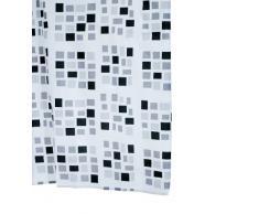 Aquamod 140320 Stones - Cortina de ducha de tela (180 x 200 cm), color negro y gris