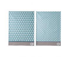 Coucke 3152193002389, diseño de mosaico floral-Trapo de cocina algodón, 50 x 75 x 0,3 cm, 2 unidades