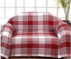 Homescapes Funda de sofa a rayas Negras Rojas y Blancas de 230 x 260 cm en 100% Algodon