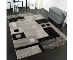 Alfombra De Diseño Perfilado - A Cuadros - Jaspeado Gris Negro, Grösse:80x150 cm