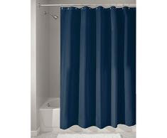 InterDesign 14698EU - Cortina para ducha de tela anti-hongos e hidrófuga, 180 x 200 cm, color azul marino