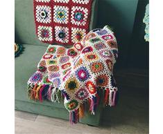 Campo nórdicos hecho a mano tejido a ganchillo manta, toalla de alfombra de punto, sofá, sofá cojín, diseño de flores, Set de alfombrillas, ropa de cama alfombra, lana, 120x60 cm