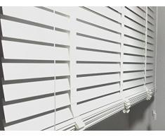 Persiana (Madera Color blanco Láminas ancho 50 mm Longitud 250 cm no de plástico., metal, blanco, 140