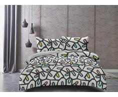 Juego de ropa de cama DecoKing Premium, con 2 fundas de almohada, de algodón, satén Mako, reversible y con cierre de cremallera de la colección Ducato, algodón, gris, 200 x 220 + 50 x 75 *2