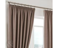 Just Contempo Herringbone Curtains - Cortinas lisas, poliéster, gris, marrón, beige, Curtain Pair 46 x 90 ( traditional )