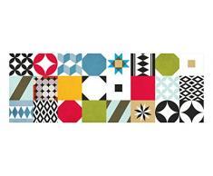 Laroom 14161 - Alfombra vinílica de cocina mosaico baldosas 140 cm, color multicolor
