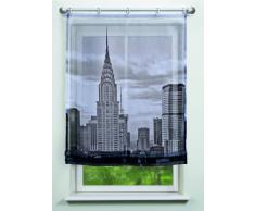 Home fashion 82239-796 New York - Estor de voile (impresión digital), diseño de Nueva York, color blanco y negro
