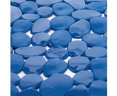 MSV - Alfombra de ducha, PVC, color azul