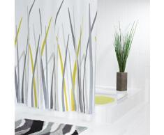 Ridder 423850-350 - Cortina de ducha de tela (180 x 200 cm, incluye enganches), color blanco con diseño de hierba