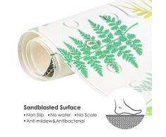 Elegear Alfombra de Bano Antideslizante con Ventosas, Alfombra de Ducha con Exfoliación, Resistente al Moho, Natural PVC 70 x 40 cm(Planta)