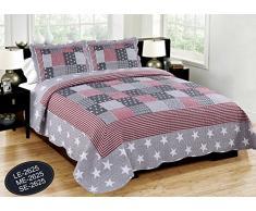 ForenTex- Colcha Boutí reversible, (ME-2625), cama 135 cm, 230 x 260 cm, Estampada cosida, E.E.U.U., +2 cojines, colcha barata, set de cama, ropa de cama. Por cada 2 colchas o mantas paga solo un envío (o colcha y manta), descuento