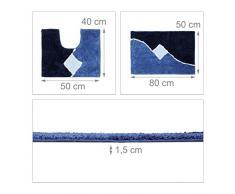 Relaxdays – Lote de 2 Alfombra de baño con diseño gráficas Alfombra de Ducha y Alfombra WC 80 x 50 cm Cuarto de baño Alfombra Lavable, Azul